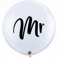 3ft White Mr Giant Latex Balloons 2pk