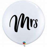 3ft White Mrs Giant Latex Balloons 2pk