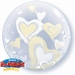 24 Inch White & Ivory Lovely Floating Hearts Double Bubble B