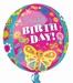 Happy Birthday Cute Butterfly Orbz Foil Balloon