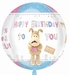 Boofle Happy Birthday Orbz Foil Balloon