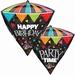 Happy Birthday Party Time Diamondz Foil Balloon