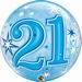 21st Blue Starburst Sparkle Single Bubble Balloons