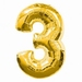 Number 3  Gold Supershape Balloons