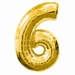 Number 6  Gold Supershape Balloons