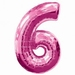 Number 6 Pink Supershape Balloons