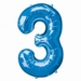 Number 3 Blue Supershape Balloons