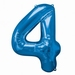 Number 4 Blue Supershape Balloons