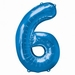 Number 6 Blue Supershape Balloons