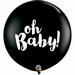 3ft Black Oh Baby Latex Balloons 2pk